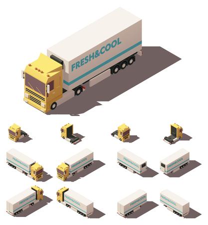 벡터 아이소 메트릭 아이콘 또는 절연 또는 냉장 세미 트레일러 트럭 또는 트랙터를 나타내는 infographic 요소. 서로 다른 그림자가있는 네 개의보기에있 일러스트