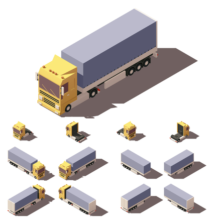Vector Isometric icon or infographic element representing truck or tractor with tilt box trailer or semi-trailer. Every truck and trailer in four views with different shadows Illustration