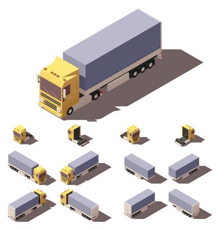 Vector Isometric icon of infographic element vertegenwoordigen vrachtauto of trekker met tilt box aanhangwagen of oplegger. Elke vrachtwagen en aanhangwagen in vier weergaven met verschillende schaduwen