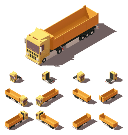 semitrailer: Vector Isometric icon or infographic element representing truck or tractor with tipper trailer or semi-trailer. Every truck and trailer in four views with different shadows