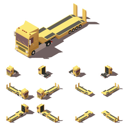 low tire: Vector Isometric icon or infographic element representing truck or tractor with lowboy trailer or semi-trailer. Every truck and trailer in four views with different shadows