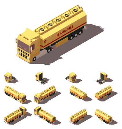water carrier: Vector Isometric icon or infographic element representing truck or tractor with tanker trailer or semi-trailer. Every truck and trailer in four views with different shadows