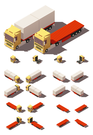 low tire: Vector Isometric icon or infographic element representing truck or tractor with container flatbed trailer or semi-trailer. Every truck and trailer in four views with different shadows