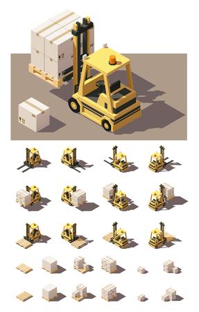 Isométrica del vector icono conjunto o elemento de infografía que representa palets con cajas de montacargas. Carretilla elevadora de cuatro puntos de vista con diferentes sombras. estilo poli baja Ilustración de vector