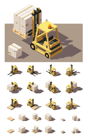 Vector Isometric icon set or infographic element representing forklift loading pallets with boxes. Forklift in four views with different shadows. Low poly style 免版税图像 - 57322737