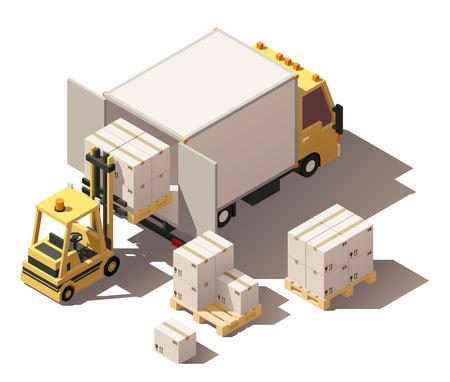 벡터 아이소 메트릭 아이콘 집합 또는 infographic 요소 상자 트럭 또는 큐브 트럭을 나타내는 및 골 판지 상자와 팔레트를로드하는 지게차. 낮은 폴리 스 일러스트