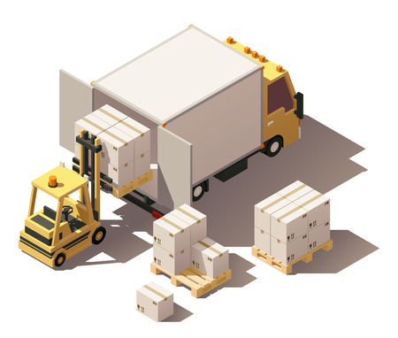 Vector Isometric icon set or infographic element representing box truck or cube truck and forklift loading pallets with cardboard boxes. Low poly style