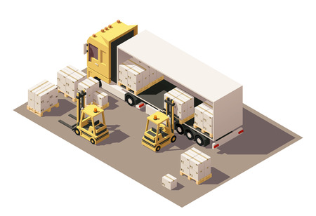 semitrailer: Vector Isometric icon set or infographic element representing box semi-trailer and forklift loading pallets with cardboard boxes. Low poly style
