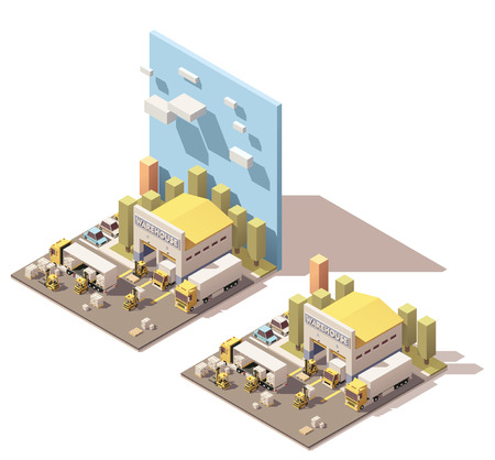 Vector Isometric icon set or infographic element representing warehouse, warehouse yard, truck with semi trailer, box truck and forklifts loading pallets with cardboard boxes. Low poly style Illustration