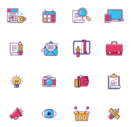 symbols metaphors: Vector linear icon set representing typical web page symbols and metaphors Illustration