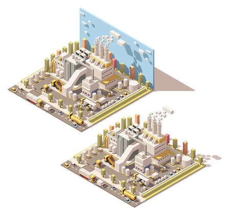 Vector Isometric icon or infographic element representing industrial block, factory or plant, smoking factory pipes or chimney, trucks and forklifts on the factory yard