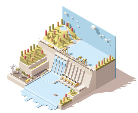 hydroelectric: Vector Isometric icon or infographic element representing hydroelectric power station with dam on the river, water reservoir, flowing water from turbines and power lines