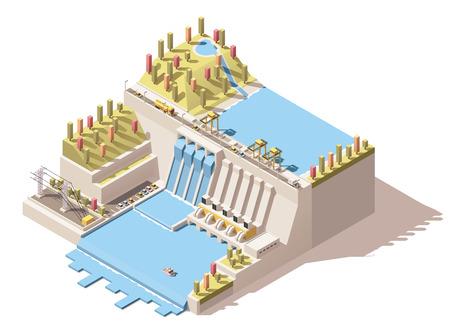 edificio industrial: Icono del vector isométrico o elemento de infografía que representa central hidroeléctrica con embalse en el río, depósito de agua, el agua que fluye de las turbinas y las líneas eléctricas Vectores