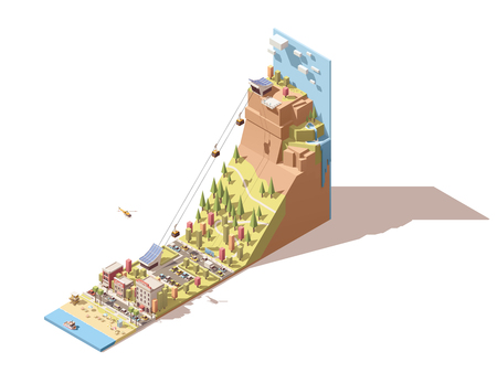 Vector Isometric travel and vacations icon or infographic element representing cableway to the viewing platform on the mountain, waterfall, sea beach, cable cars over the forest and road, hotel and cafe buildings Vettoriali