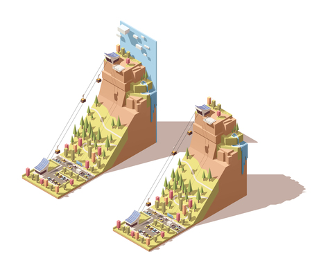 waterfall in forest: Vector Isometric travel and vacations icon or infographic element representing cableway traveling to the viewing platform on the mountain, waterfall, cable cars over the forest and road Illustration
