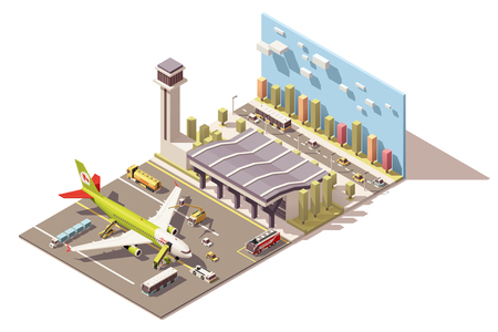 jet airplane: Vector Isometric icon or infographic element representing low poly airport terminal, jet airplane, ground support vehicles, equipment and airport control tower Illustration