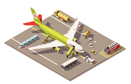 Vector Isometric icon or infographic element representing low poly airport apron area, jet airplane, ground support vehicles and equipment