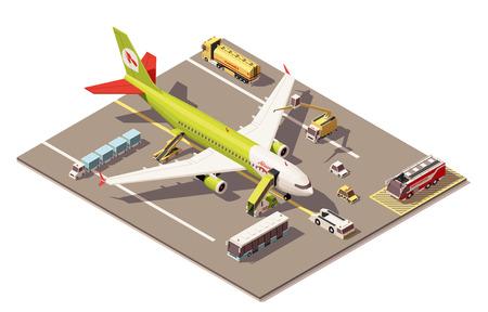 ikona wektor izometryczny lub infografika Element reprezentujący małą powierzchnię poli płyta postojowa samolotów odrzutowych, samolot, pojazdy i sprzęt do obsługi naziemnej Ilustracje wektorowe