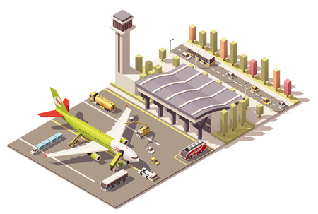 Vector Isometric icon or infographic element representing low poly airport terminal, jet airplane, ground support vehicles, equipment and airport control tower