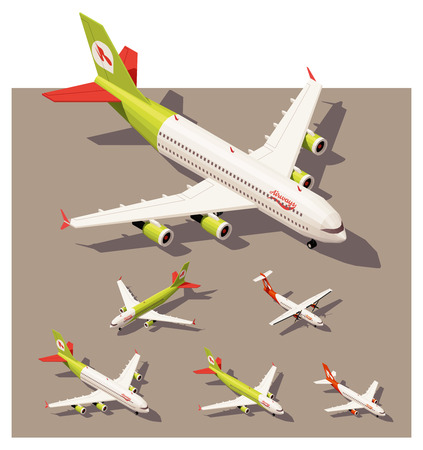 Vector Isometric icon set of infographic elementen vertegenwoordigen passagiersvliegtuigen. Verschillende klassen van straalvliegtuigen en vliegtuig met propeller motor laag poly stijl