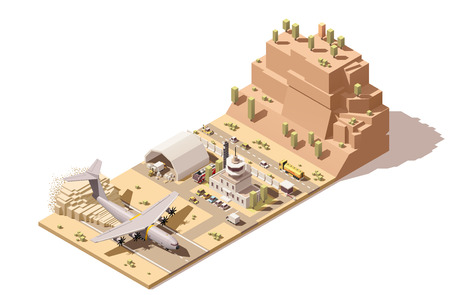 Vector Isometric icon or infographic element representing low poly desert airport terminal with control tower, cargo airplane landing, ground support vehicles, humanitarian cargo loading on trucks by forklift