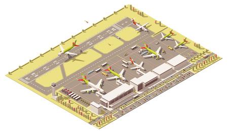 Vector Isometric icon of infographic element vertegenwoordigen laag poly terminal van de luchthaven met de verkeerstoren, de landing jet, ground support voertuigen werken in de buurt van vliegtuigen op schort
