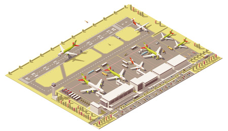 Vector Isometric icon or infographic element representing low poly airport terminal with traffic control tower, landing jet airplane, ground support vehicles working near airplanes at apron
