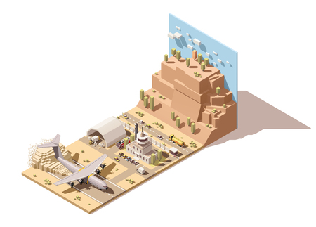 humanitarian: Vector Isometric icon or infographic element representing low poly desert airport terminal with control tower, cargo airplane landing, ground support vehicles, humanitarian cargo loading on trucks by forklift