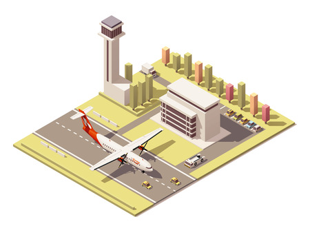 air liner: Vector Isometric icon or infographic element representing low poly airport terminal with traffic control tower, landing propeller airplane, ground support vehicles