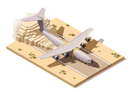 먼지가 활주로에 낮은 폴리 인도주의 또는 군사화물 비행기 착륙을 나타내는 벡터 아이소 메트릭 아이콘 또는 인포 그래픽 요소 일러스트