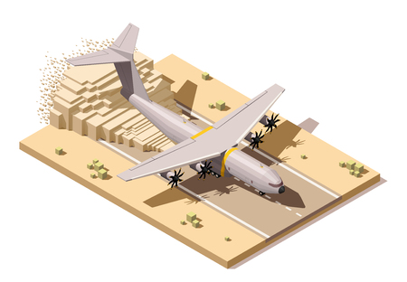 Vector Isometric icon or infographic element representing low poly humanitarian or military cargo airplane landing on dusty runway