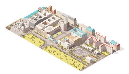 holocaust: Vector Isometric infographic element representing low poly map of Berlin, Germany. Includes Reichstag building, Brandenburg gate, Holocaust memorial and nearby street buildings