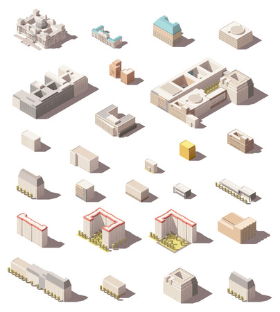 multistory: Vector isometric minimalistic low poly icon set or map infographic elements city buildings, homes and offices