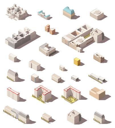 Vector isometrische minimalistische laag poly pictogram set of kaart infographic elementen stad gebouwen, woningen en kantoren