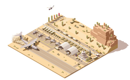 airfield: Vector isometric low poly infographic element representing map of military airport or airbase with jet fighters, helicopters, armored vehicles, structures, control tower and cargo airplane landing