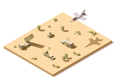 Vector isometric low poly infographic element representing military surface-to-air missile defense system on the desert and jet fighter aircraft flying Illustration