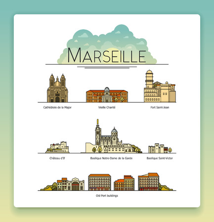 cathedrals: Vector line art Marseille, France, travel landmarks and architecture icon set. The most popular tourist destinations, streets, cathedrals, buildings, symbols of the city