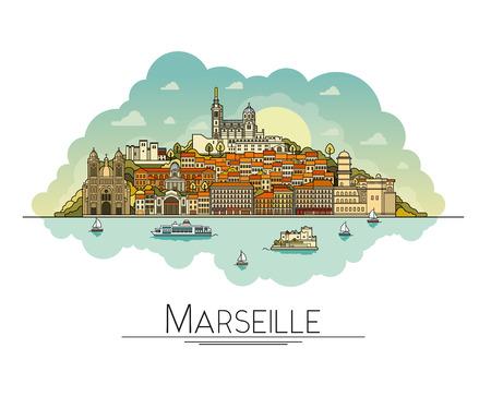 Arte de línea vectorial Marsella, Francia, monumentos de viaje e icono de la arquitectura. Los destinos turísticos más populares, calles de la ciudad, catedrales, edificios, símbolos en una ilustración.