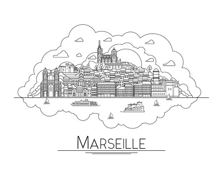 cathedrale: Vector line art Marseille, France, travel landmarks and architecture icon. The most popular tourist destinations, city streets, cathedrals, buildings, symbols in one illustration