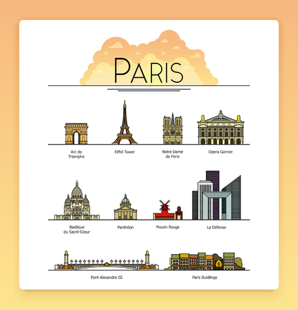 cathedrals: Vector line art Paris, France, travel landmarks and architecture icon set. The most popular tourist destinations, streets, cathedrals, buildings, symbols of the city