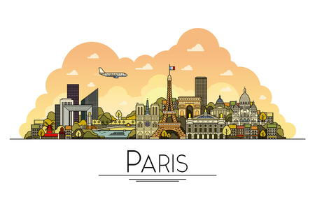paris france: Vector line art Paris, France, travel landmarks and architecture icon. The most popular tourist destinations, city streets, cathedrals, buildings, symbols in one illustration Illustration