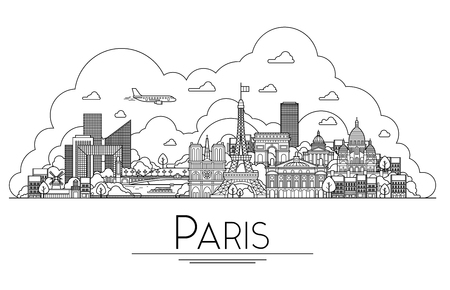 city: Vector line art Paris, France, travel landmarks and architecture icon. The most popular tourist destinations, city streets, cathedrals, buildings, symbols in one illustration Illustration
