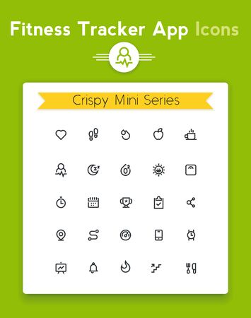 diet food: Vector line fitness and sport tracker app icon set