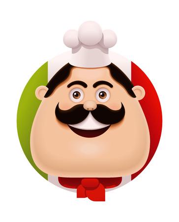 Vector Italian chef with mustache icon