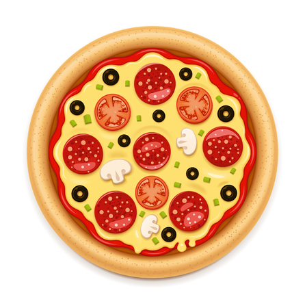Vector hot pizza with sticky cheese, tomato and salami icon