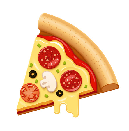 Vector hot pizza slice with sticky cheese, tomato and salami icon Illustration