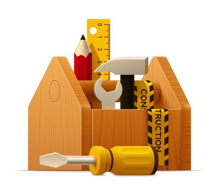 Vector cassetta degli attrezzi in legno con strumenti icona Vettoriali