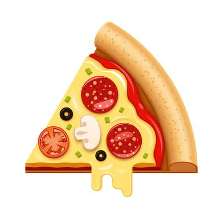 Vector hot pizza slice with sticky cheese, tomato and salami icon