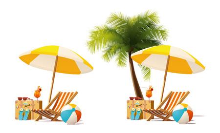 デッキチェア、旅行かばん、パラソルと海辺のビーチでデッキチェアに近いカクテルを表す詳細なベクトル アイコン  イラスト・ベクター素材