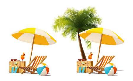 Detailed vector icon representing deck chair, travel suitcase, sun umbrella and cocktail near deck chair on the seaside beach 免版税图像 - 60875785